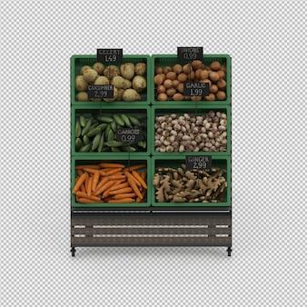 Isometrische plantaardige staan markt 3d render