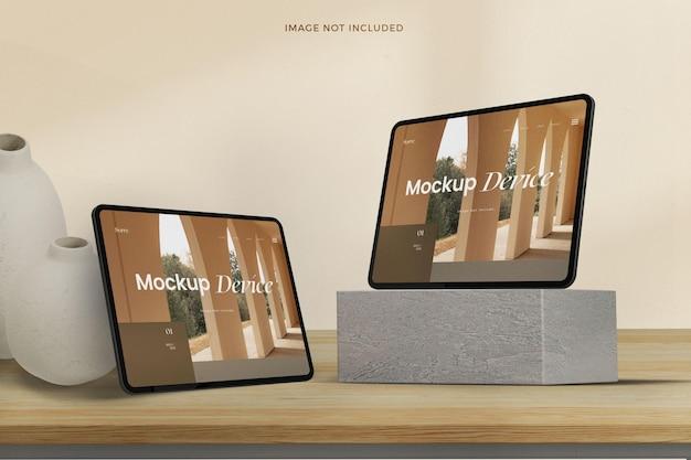 Isometrische responsieve tabletschermmodel mock