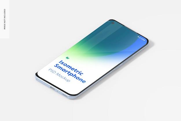 Isometrische smartphone-mockup, linkeraanzicht
