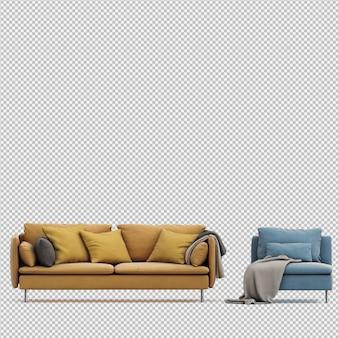 Isometrische sofa 3d geïsoleerd render