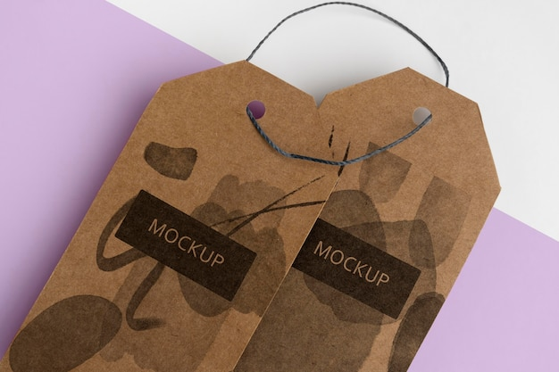 Isometrische stijl ambachtelijke hanger tags close-up