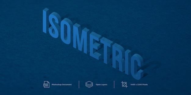 Isometrische teksteffect ontwerpstijlsjabloon
