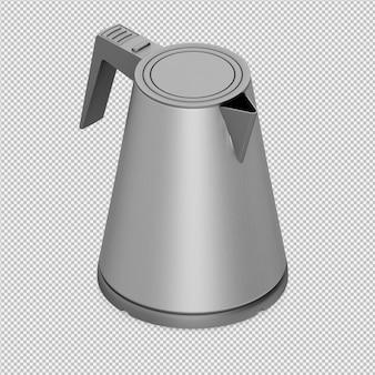 Isometrische theepot 3d render