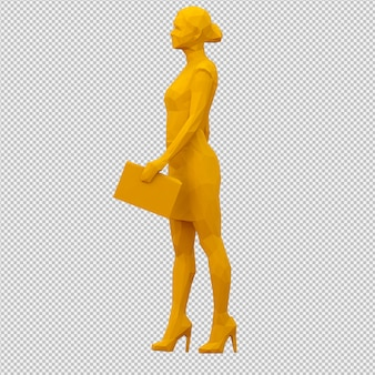Isometrische vrouwelijke 3d render