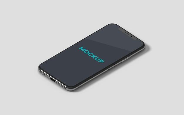 Isometrische zwarte telefoon mockup hoge hoekmening