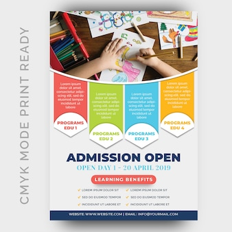 Istruzione, back to shool flyer design template