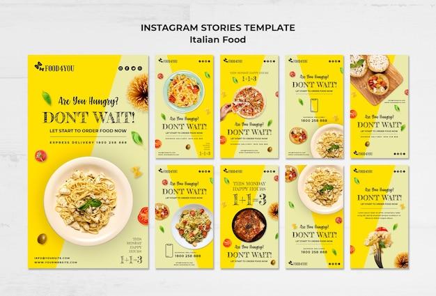 Italiaans eten concept instagram verhalen sjabloon