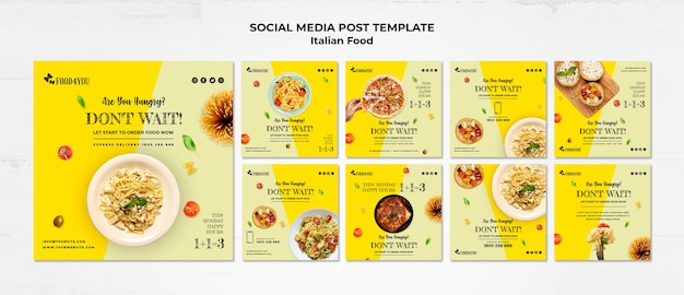 Italiaans eten concept social media post sjabloon
