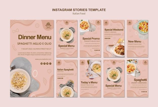 Italiaans eten instagram verhalen sjabloon