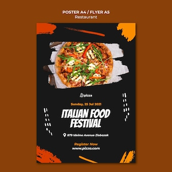 Italiaans eten restaurant folder sjabloon
