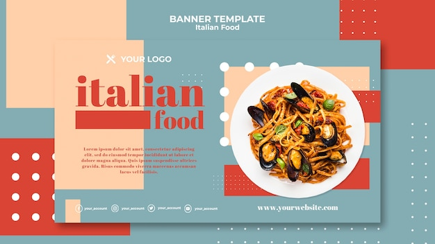 Italiaans eten sjabloon banner
