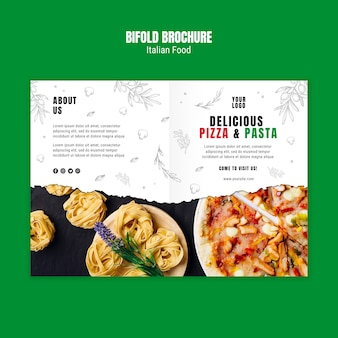 Italiaans eten tweevoudige brochure sjabloon