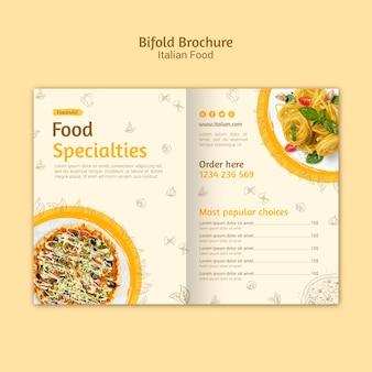 Italiaans eten tweevoudige brochure
