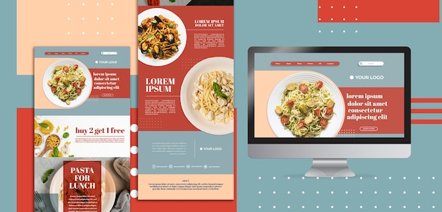 Italiaans eten website-interface sjabloon