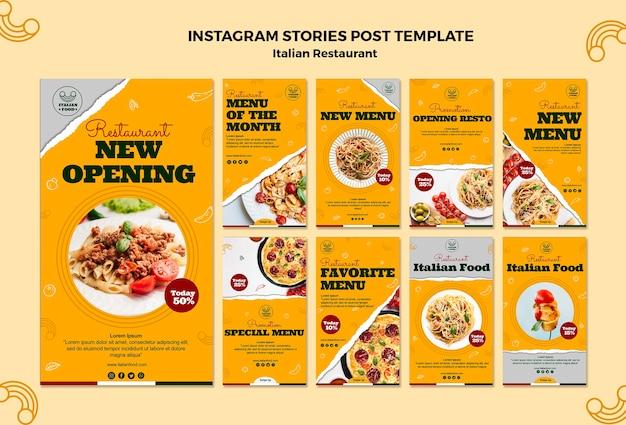 Italiaans restaurant instagram verhalen sjabloon
