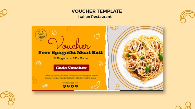 Italiaans restaurant voucher sjabloon