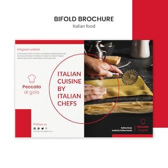 Italiaanse keuken tweevoudige brochure