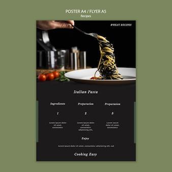 Italiaanse pasta poster afdruksjabloon