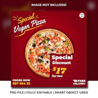 Italiaanse pizza fastfoodrestaurant rode premium instagram social media post
