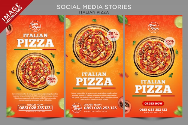 Italiaanse pizza sociale media verhalen serie sjabloon