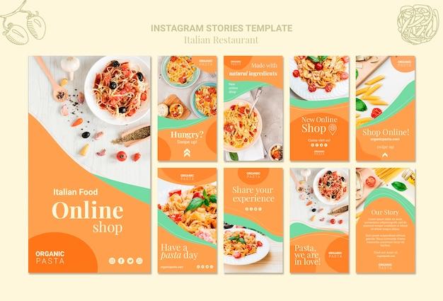 Italiaanse restaurant instagramverhalen