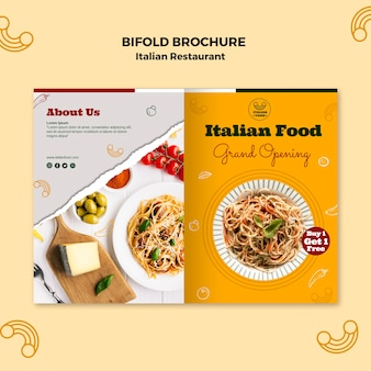 Italiaanse restaurant tweevoudige brochure