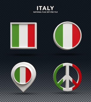 Italië vlag 3d-rendering koepel knop en op glanzende basis