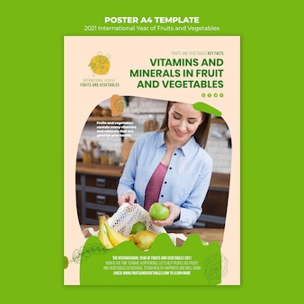 Jaar afdruksjabloon voor groenten en fruit