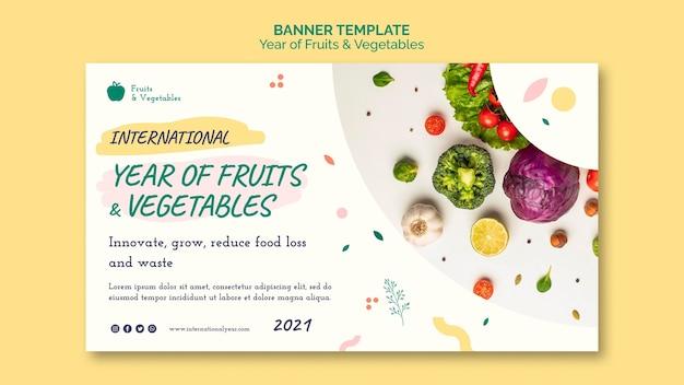 Jaar van groenten en fruit sjabloon voor spandoek