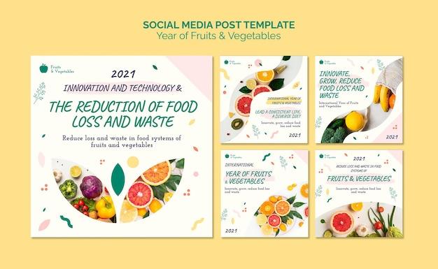 Jaar van groenten en fruit social media posts-collectie