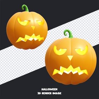 Jack o lantern halloween pompoen met gezichtsuitdrukking 3d render illustratie