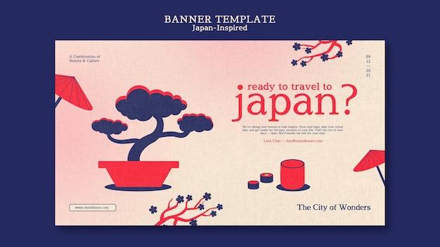 Japan geïnspireerd bannerontwerpsjabloon