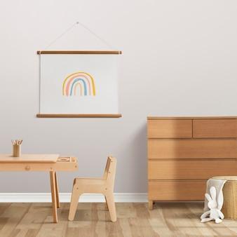 Japandi interieurmodel voor kinderen met houten meubels