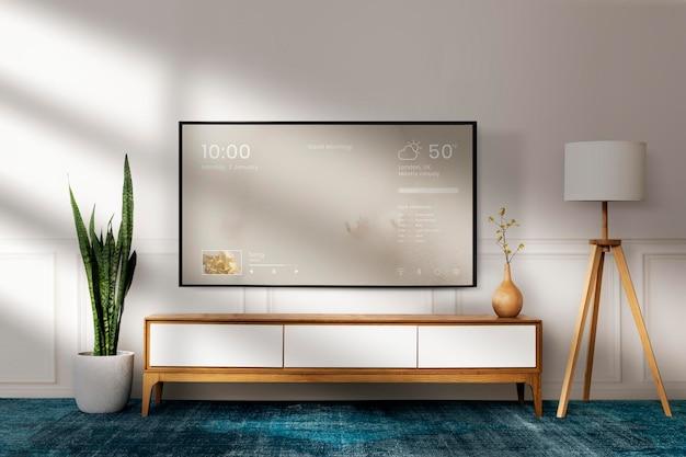 Japandi woonkamer mockup psd met houten meubelinterieur