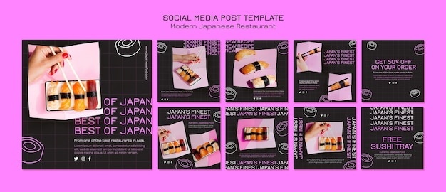 Japans beste sushi-postsjabloon voor sociale media