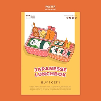 Japanse lunchbox restaurant poster sjabloon
