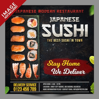 Japanse sushi social media promotie sjabloon