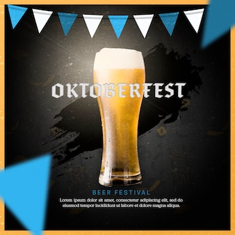 Jarra de cerveza oktoberfest con diseño plano