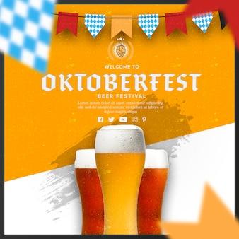 Jarras de cerveza oktoberfest con banderas de guirnaldas