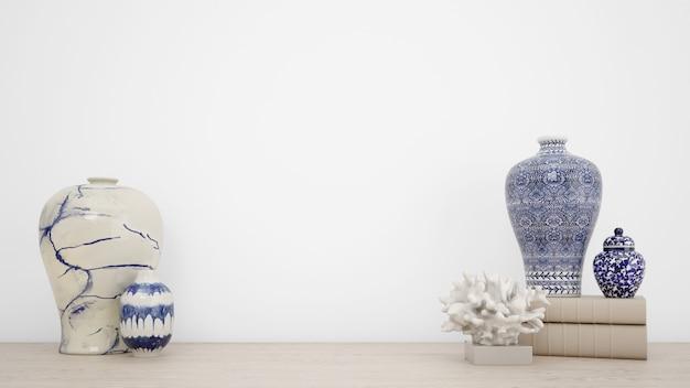 Jarrones clásicos para decoración de interiores y paredes blancas con copyspace