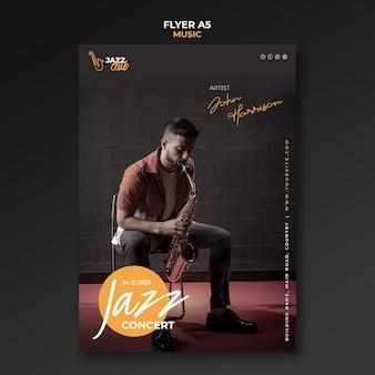 Jazz concert afdruksjabloon