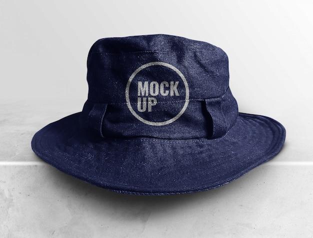 Jean cappello secchio mockup realistico