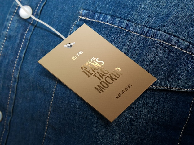 Jeans tag of label mockup