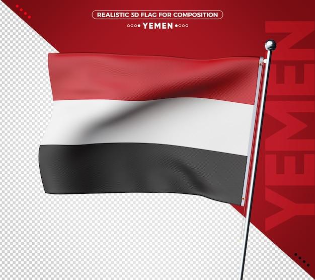 Jemen 3d vlag rendering geïsoleerd