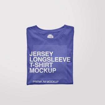 Jersey gevouwen t-shirtmodel met lange mouwen