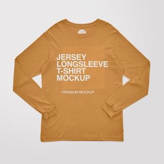 Jersey t-shirt met lange mouwen mockup