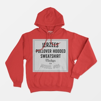 Jerzees pullover sweater met capuchon mockup 05