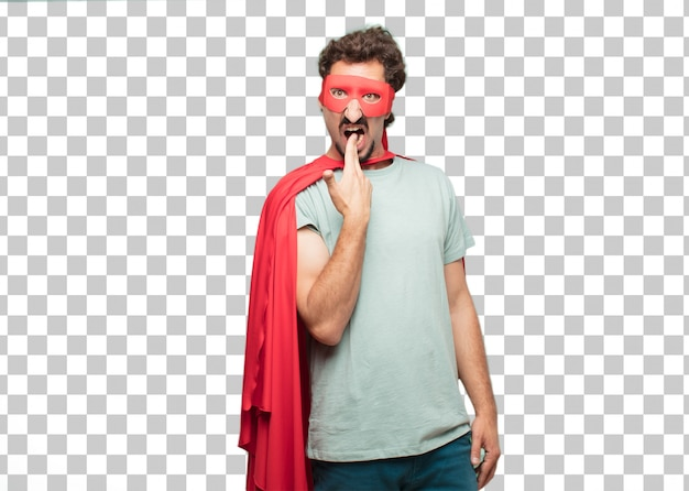 Jong gek superheldsmens zelfmoordteken