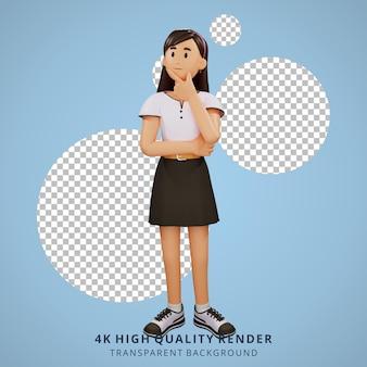 Jong meisje denken 3d karakter illustratie