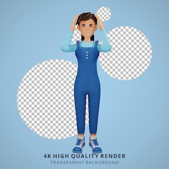 Jong meisje met bril duizelig 3d karakter illustratie